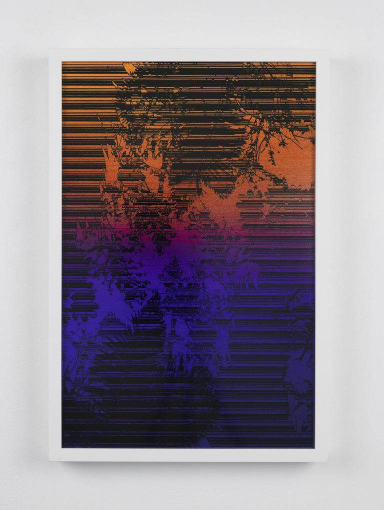 Dusk/Daybreak 3 Framed Color Photography Print  30 x 20 in. Cerulean Fuschia - Black Landscape Photograph by Lionel Cruet