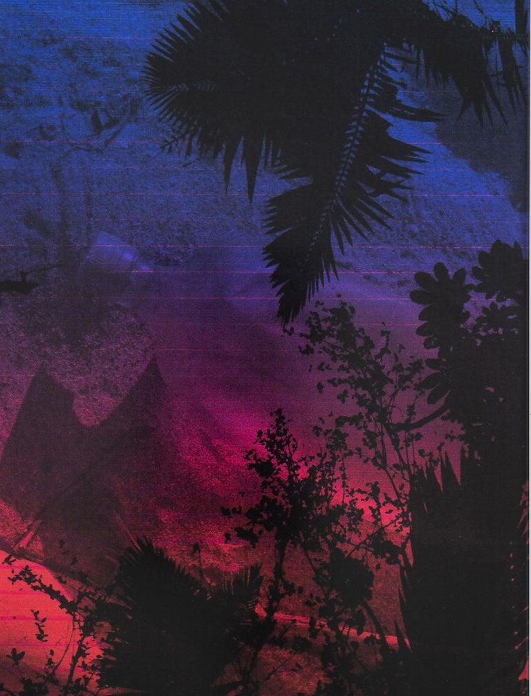 Dusk/Daybreak 4 Framed Color Photography Print  30 x 20 in. Cerulean Fuschia For Sale 2