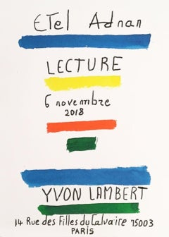 'Lecture' Reading at Yvon Lambert Paris Exhibition Poster Red Blue Yellow Green