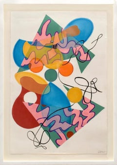 'Ducks in Flux 4' Original contemporary oil on paper color abstract geometric