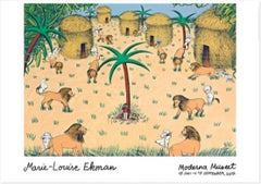 I djungeln (In the Jungle), Exhibition poster, lion dog palm trees, village