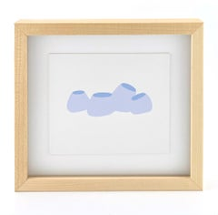 'Beings' Work on paper Drawing Framed soft pastel blue lilac minimal nautical