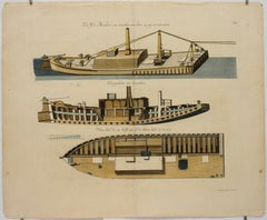 """De Ys Breker [The Icebreaker],"" Antique Print, Canal Barge, Boat Cross-Section"