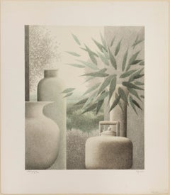 Interior Still Life with Kettle, Vase and Plant, Signed Artist Proof Print