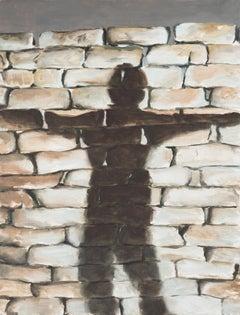 Jasper Hagenaar, Slender man, oil on panel (figurative, shadow)