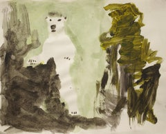 Jasper Hagenaar, Untitled (bear), ink on paper (acquarel), (figurative, animals)