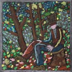 Bart Kok, Untitled, 2019 (forrest, landscape, drawing, portrait, man with hat)