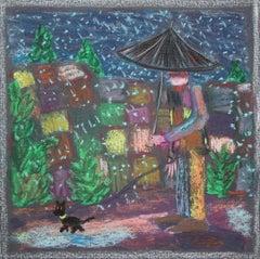 Bart Kok, Untitled, 2020 (forrest, man with dog, umbrella, drawing)