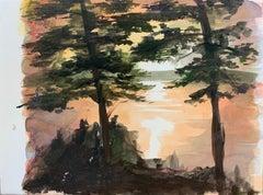 Jasper Hagenaar (drawing, landscape, sun, reflection, trees, forrest)