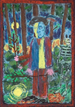 Bart Kok, Untitled (Man in a forrest with a skeleton)