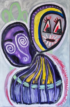 Marliz Frencken, Two faces in color (painting, oil on canvas)