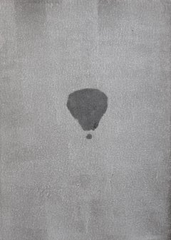 Jasper Hagenaar, Untitled (Monotype in black and white of a balloon in the sky)