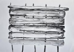 Jasper Hagenaar, Untitled (monotype in black and white of a wooden fence)