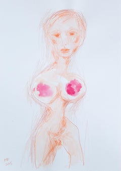 Marliz Frencken, Untitled (pencil and watercolor drawing of a woman)