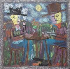 Bart Kok, Untitled, 2020 (figurative drawing of two men sitting at a table)