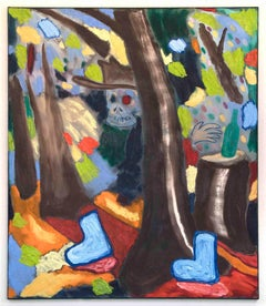 Bart Kok (Oil painting of a landscape with trees, a skull and boots)