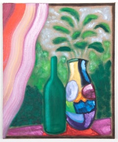 Bart Kok (Oil painting of a still-life with vase with flowers and a bottle)