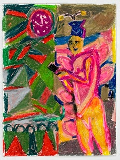 Tanja Ritterbex (drawing depicting a person in a colorful interior)