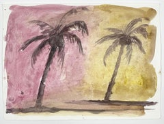 Jasper Hagenaar, Untitled, 2008 (Palm trees, Beach, Sunset, Landscape, aquarel)