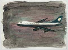 Jasper Hagenaar (Aquarel / watercolor of a Palm Air airplane in the night)