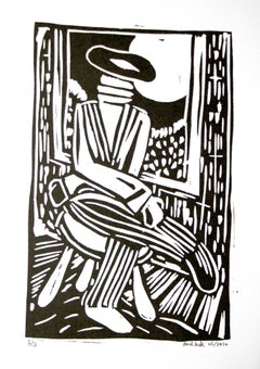 Bart Kok, Untitled (linocut print in black and white)