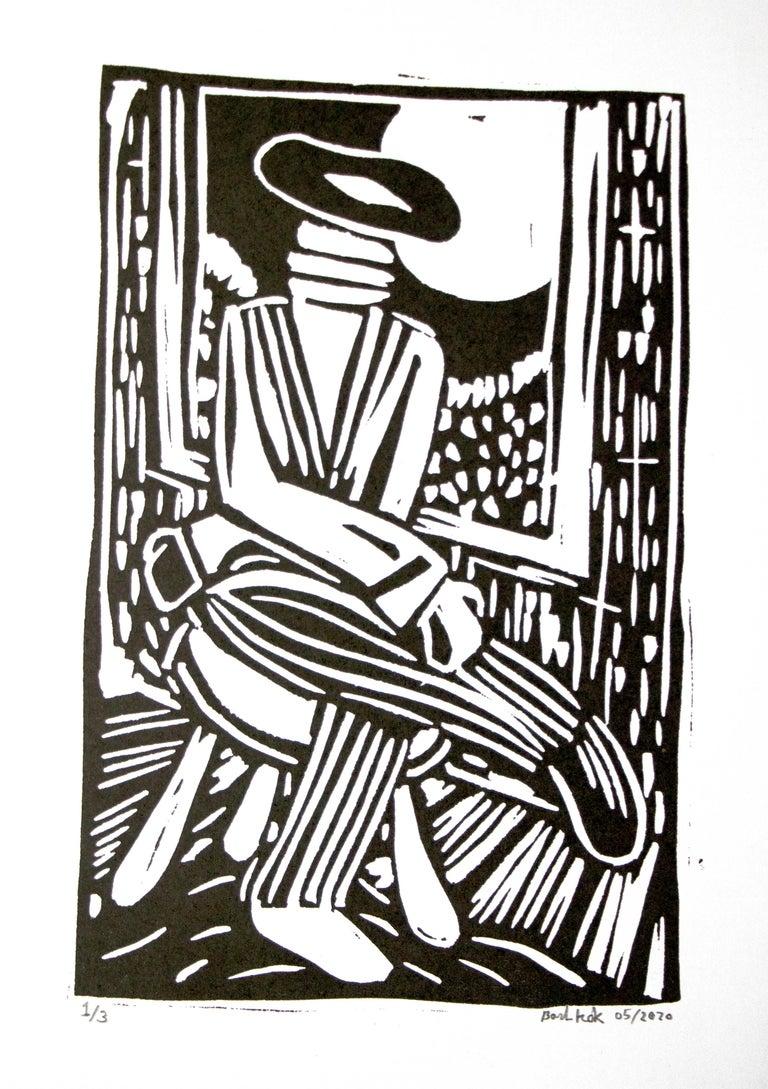 Bart Kok, Untitled (linocut print in black and white)  - Print by Bart Kok