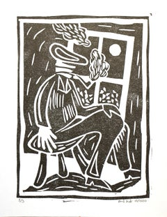 Bart Kok, Untitled (linocut print of a pipe smoking figure in black and white)