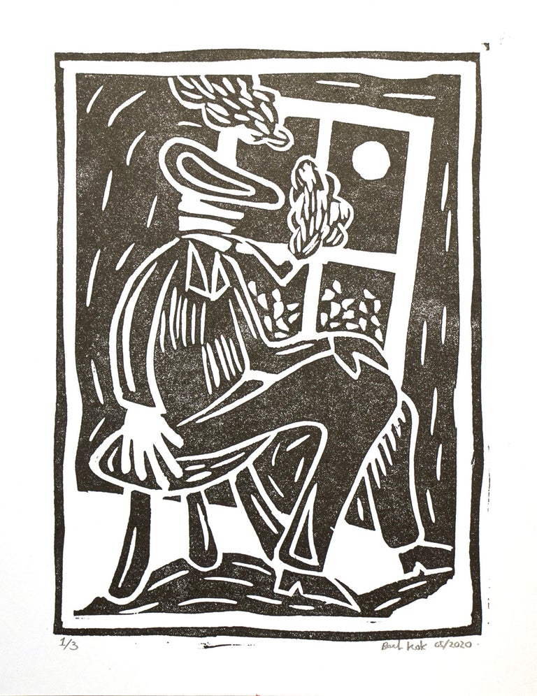 Bart Kok, Untitled (linocut print of a pipe smoking figure in black and white) - Print by Bart Kok