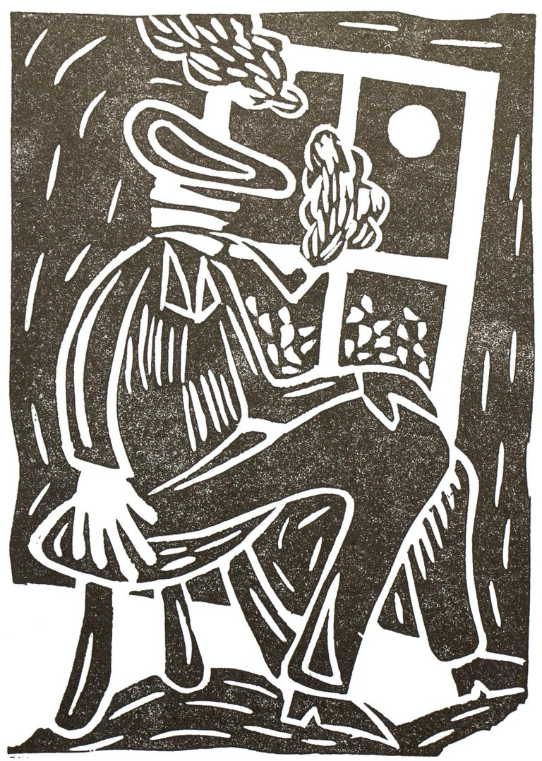 Bart Kok, Untitled (linocut print of a pipe smoking figure in black and white) - Contemporary Print by Bart Kok