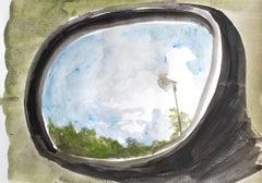 Jasper Hagenaar - drawing a landscape in the car mirror