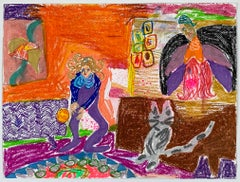 Tanja Ritterbex (drawing of a self-portrait, a cat and a angel)