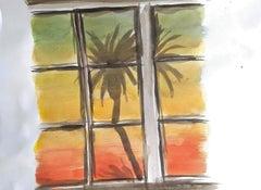 Jasper Hagenaar - drawing a window with in the background palmtrees