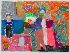 Tanja Ritterbex (drawing of a self-portrait in her apartment/interior)