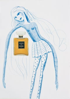 Marliz Frencken (a blue line drawing of a female with Chanel bottle)