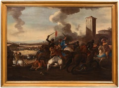 Italian 17th Century Paintings Battle Between Turks and Christians Cavalry