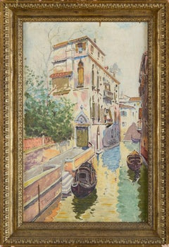 20th Century Italian A View of  A Venice Calle by Francesco Cangiullo Signed