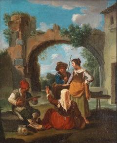 Paolo Monaldi Pastoral Scene With a Street Musician Knew also as Bamboccianti