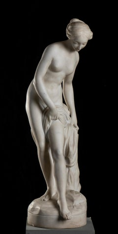 Baigneuse, Marble Sculpture signed Falconet