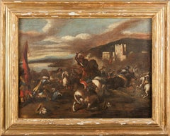 Battle Scene With Knights, Horses, Fortress and Mountains