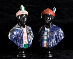 Pair Of Sculptures Busts of Moors in Black Belgium Marble and Semiprecious Stone