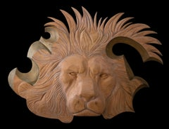 Wood Sculpture Relief of Lion Head Italian 20th Century Signed Tamanti