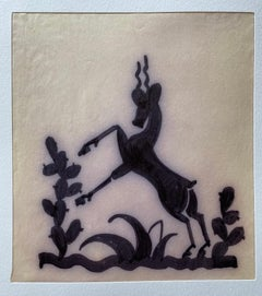 Art Deco Silhouette of a Rearing, Cervicapra Antelope in an Arid Landscape.