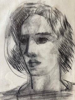 Study of a Woman's Head in Three Quarter View.