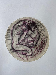 Amorous Couple on an Embossed Paper Doily.