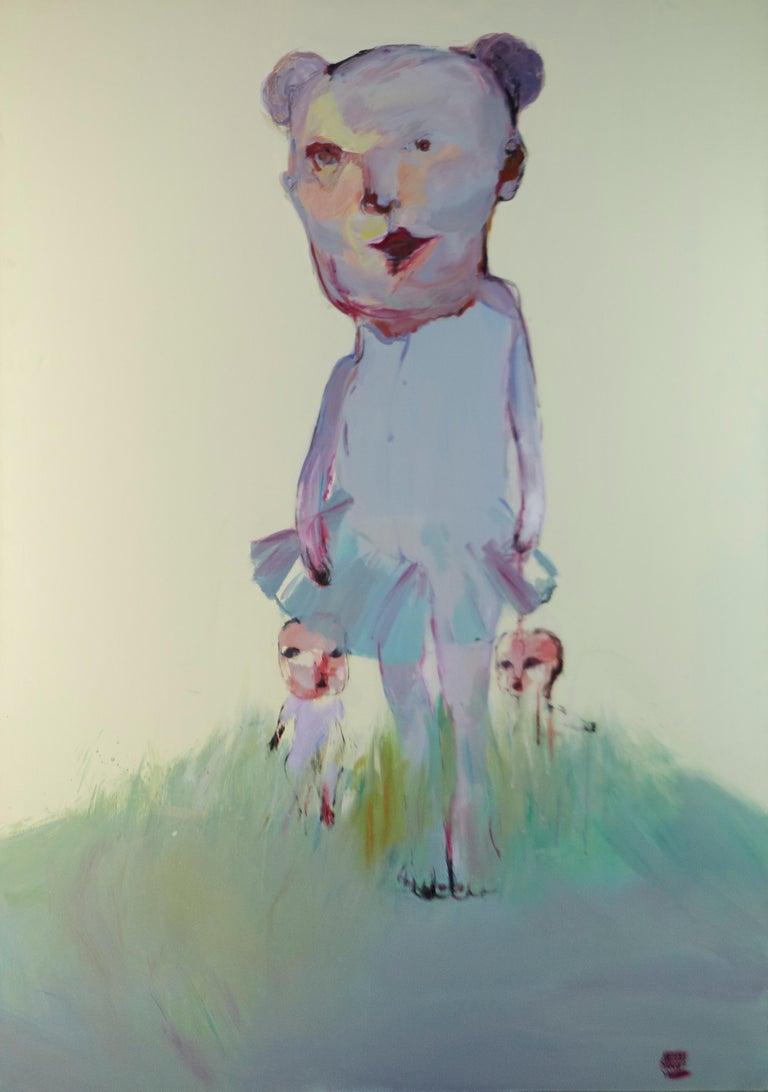 Meng Yang Yang - Untitled (morph and two kids) Tianti, 2006  - Painting by Meng Yang Yang