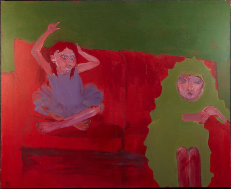 Meng Yang Yang - Untitled (woman & girl) taint, 2006  - Painting by Meng Yang Yang