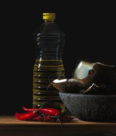 Contemporary Hyper Realist Acrylic Painting : Bottle of Oil II