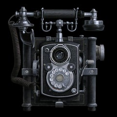 Contemporary Hyper Realist Oil Painting : Antique Phone and Camera
