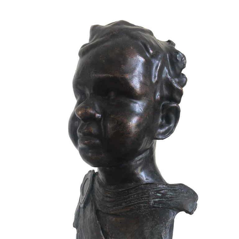Figurative Bronze Contemporary Sculpture: IL Giovane Cesare  Godfried Dols  Dols was born in 1958. Godfried developed himself from his 18th until his 30th as an self-taught ceramist and potter. A period of twenty years followed, in which creating