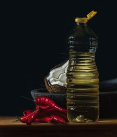 Contemporary Hyper Realist Acrylic Painting : Bottle of Oil I